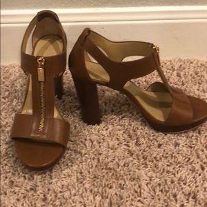 MICHAEL KORS leather zip-up sandals